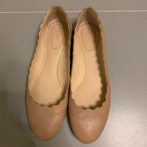 Chloe Taupe Beige Scalloped Leather Ballet Flats